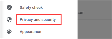 enter privacy and security section