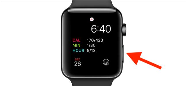 botão lateral indicado no relógio apple