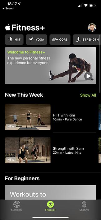 fitness+ app screen