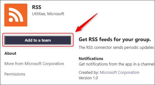 """The """"Add to a team"""" button."""