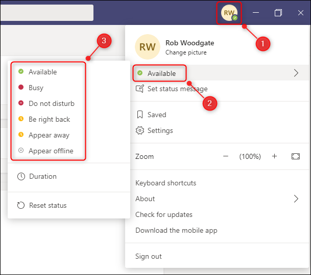 The status options in Microsoft Teams