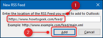 "The ""New RSS Feed"" window."
