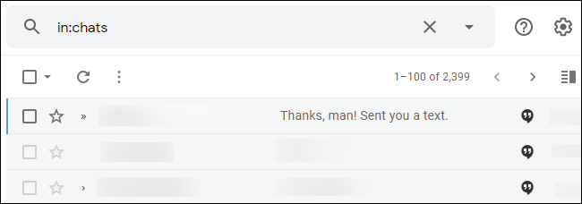 Chat logs in Gmail.