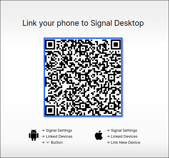 Signal client displaying the sync QR code