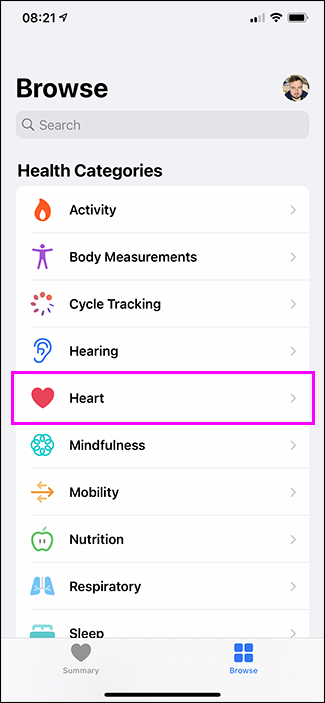 heart option in health app