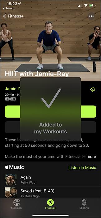 workout saved pop up