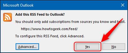 """В """"да"""" в окне подтверждения RSS."""