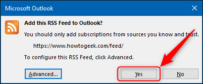 "The ""Yes"" button in the RSS confirmation window."