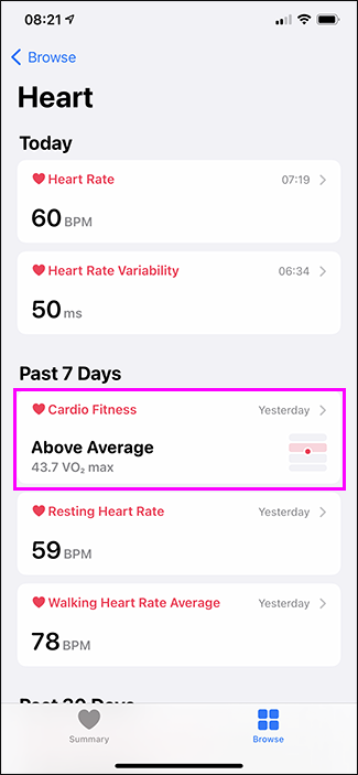 cardio fitness option in health app
