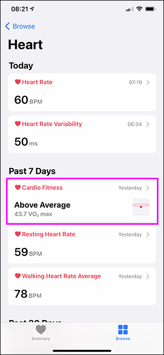 cardio fitness option in health app