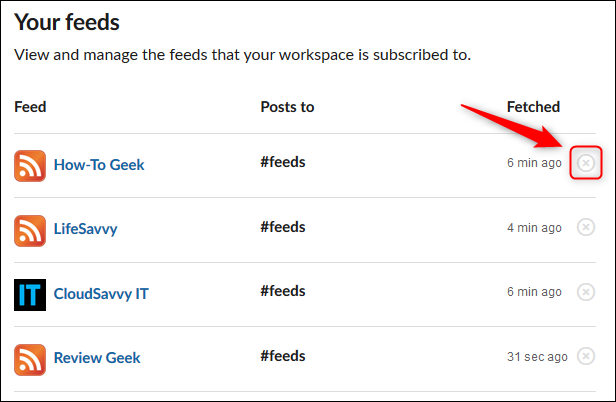 """The """"Your feeds"""" section of the RSS app page."""