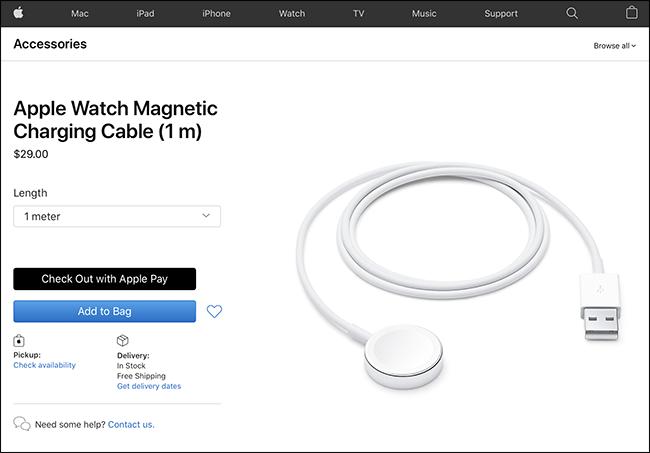 cabo de carregamento do relógio da apple no site da apple
