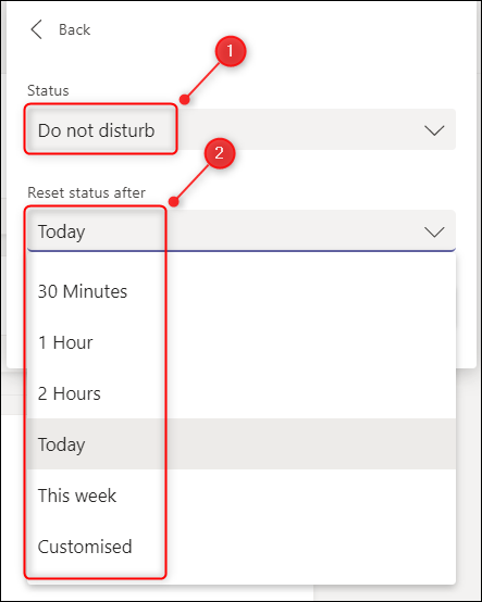 """The """"Duration"""" time options."""