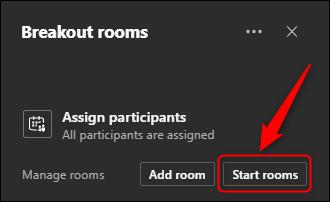 "The ""Start rooms"" option."