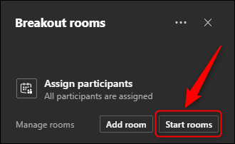 "The ""Start rooms"" option."