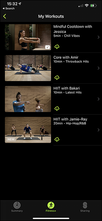 my workouts show all screen