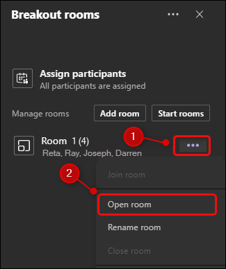 "The ""Open room"" menu option."