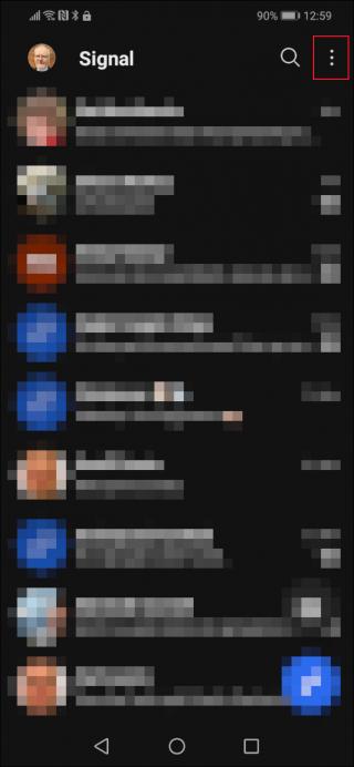 Signal app con il pulsante menu evidenziato