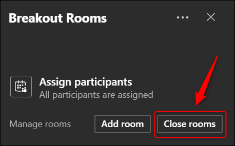 """The """"Close rooms"""" option."""