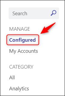 """A opção de menu """"Configurado""""."""