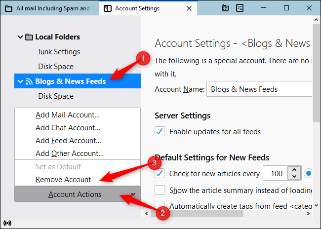 "Click ""Blogs & News Feeds,"" click ""Account Actions,"" and click ""Remove Account."""