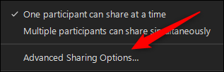 Advanced sharing options button