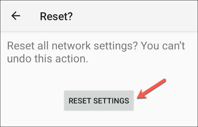 "Tap ""Reset Settings"" to begin the network reset process."