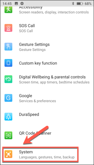 "In the ""Settings"" menu, tap ""System."""