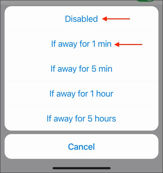 Change Auto Lock Options in Telegram for iPhone