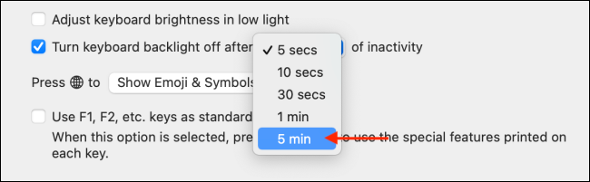 Change Backlight Inactivity Time on Mac