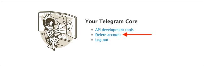 Click Delete Account from Telegram Website