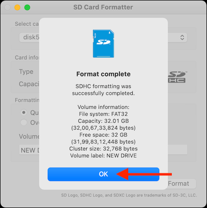 Click OK From Format Finished Popup
