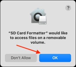 Click OK to Give App Access to SD Card