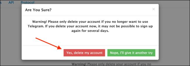 Click Yes Delete My Account on Telegram Website