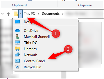 Control Panel in File Explorer's Address Bar