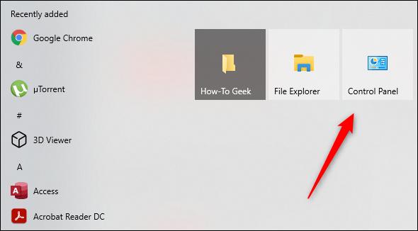 Control Panel in Start menu