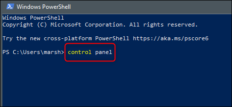 Control Panel powershell command
