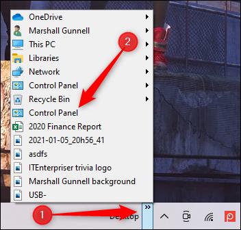 Control panel in desktop toolbar