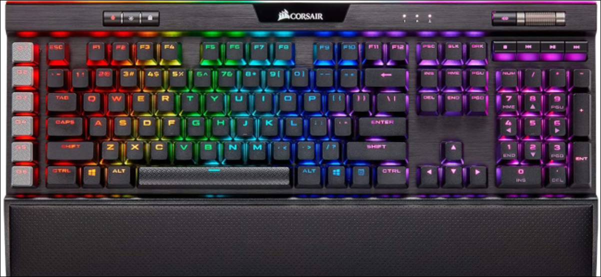The Corsair K95 computer with a black chassis and RGB per-key lighting