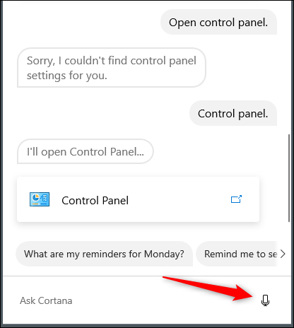 Cortana control panel voice command