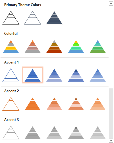 Different color schemes for the pyramid