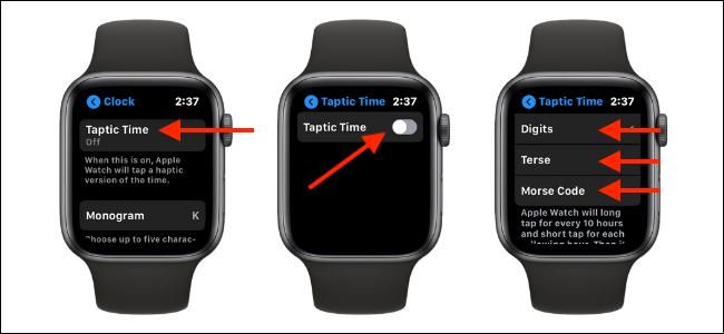 Abilita la funzione Taptic Time su Apple Watch