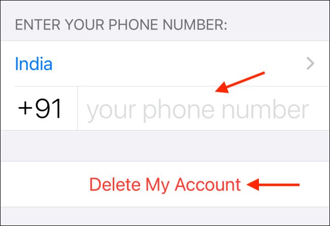 Enter Number and Tap Delete My Account in WhatsApp for iPhone