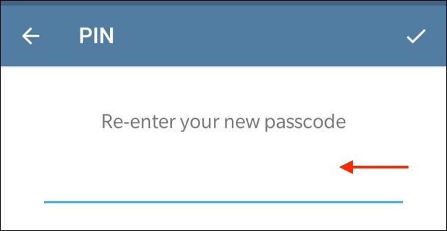 Enter Passcode in Telegram for Android