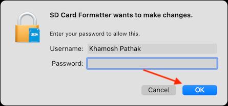 Enter Password and Click OK