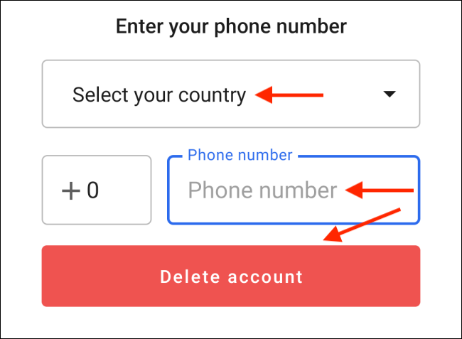 Enter Phone Number and tap Delete Account in Signal for Android