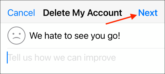 Enter Reason For Leaving and Tap Next in WhatsApp for iPhone