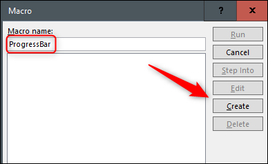 Enter macro name and click create