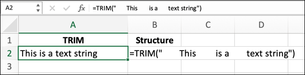 "To use the TRIM function in Excel with a text string, use the formula =TRIM(""text""), replacing ""text"" with your own text string."