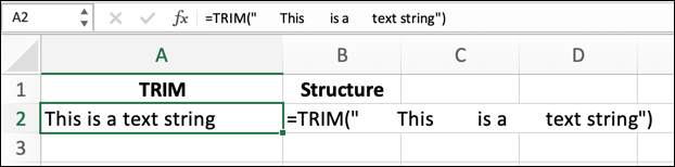 """To use the TRIM function in Excel with a text string, use the formula =TRIM(""""text""""), replacing """"text"""" with your own text string."""